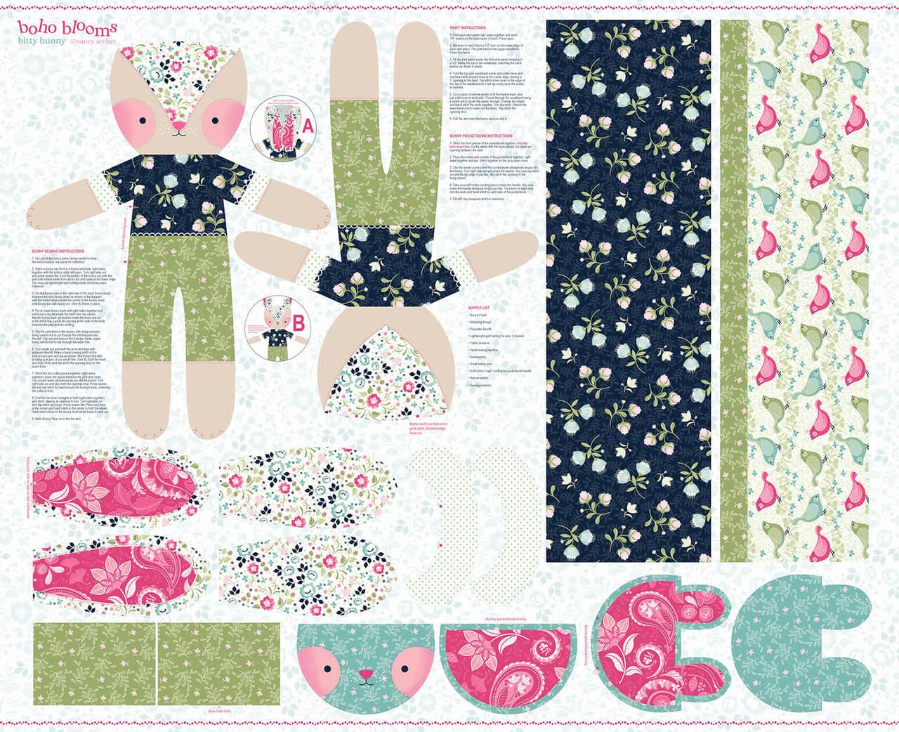 Boho Blooms - Bunny Panel Multi 4966P-17