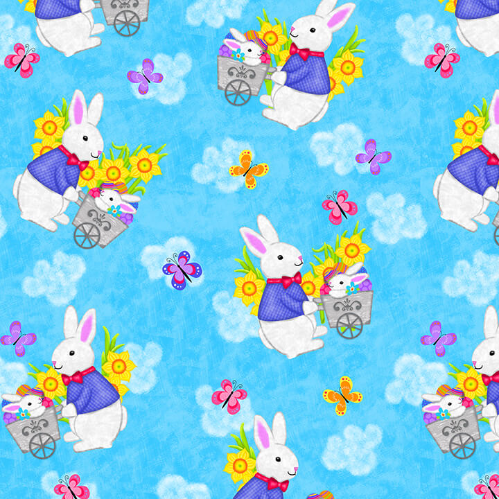Easter Bunnies on Blue:  Hello Spring by Sharla Fults for Studio E Fabrics