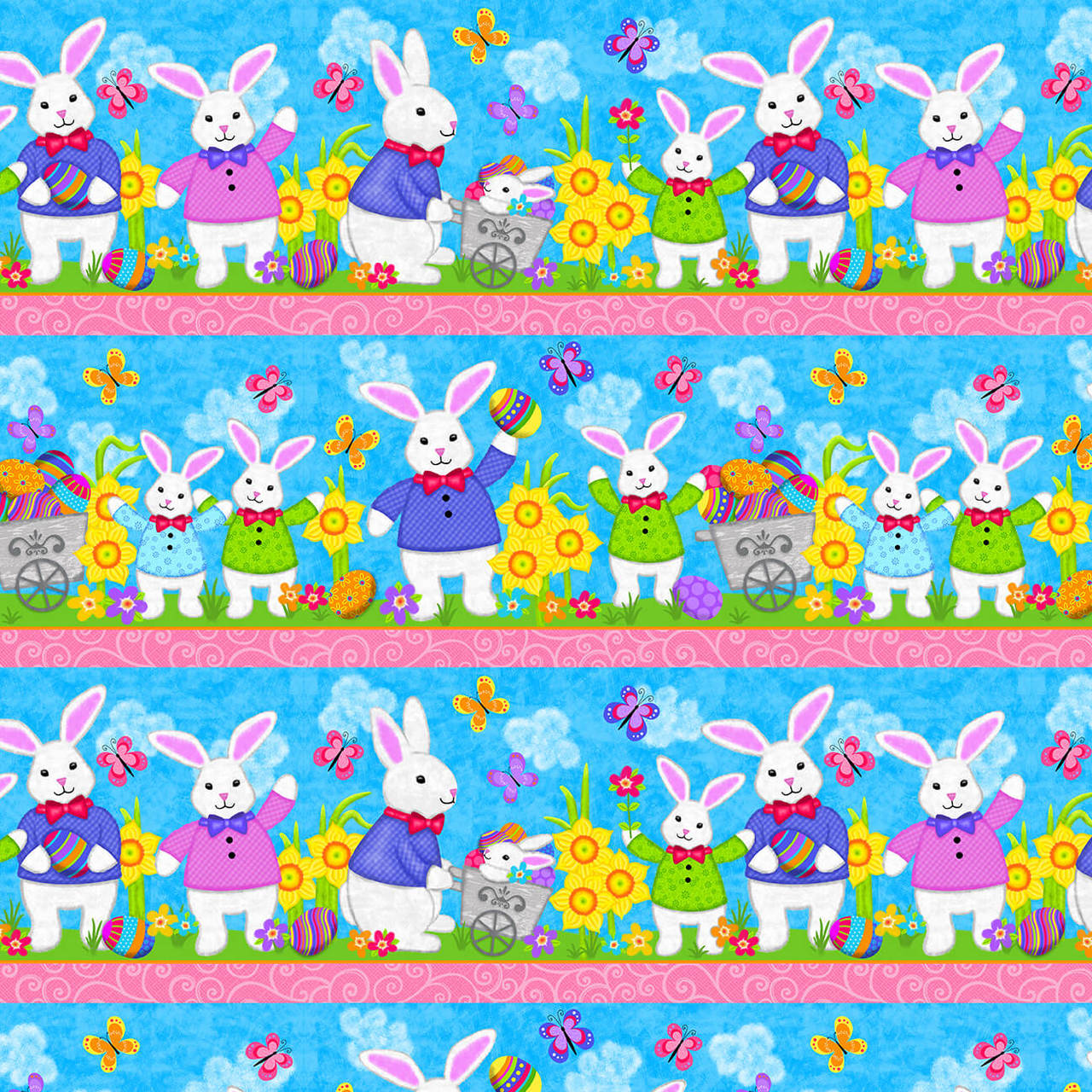 Easter Bunny Stripe:  Hello Spring by Sharla Fults for Studio E Fabrics