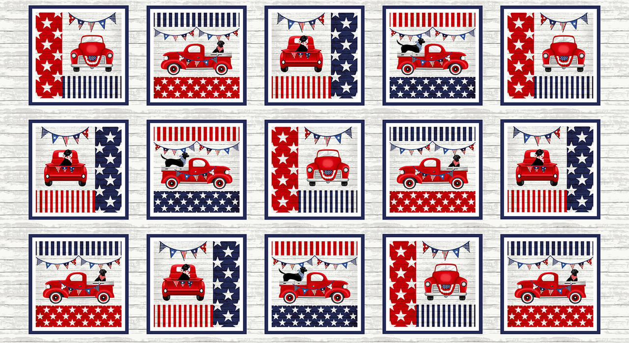 Studio E Truckin' in the USA 4998-78 Multi Patriotic Truck Panel