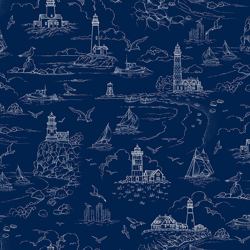 The Lightkeeper's Quilt - Lighthouse Sketch on Dark Blue 5014-77