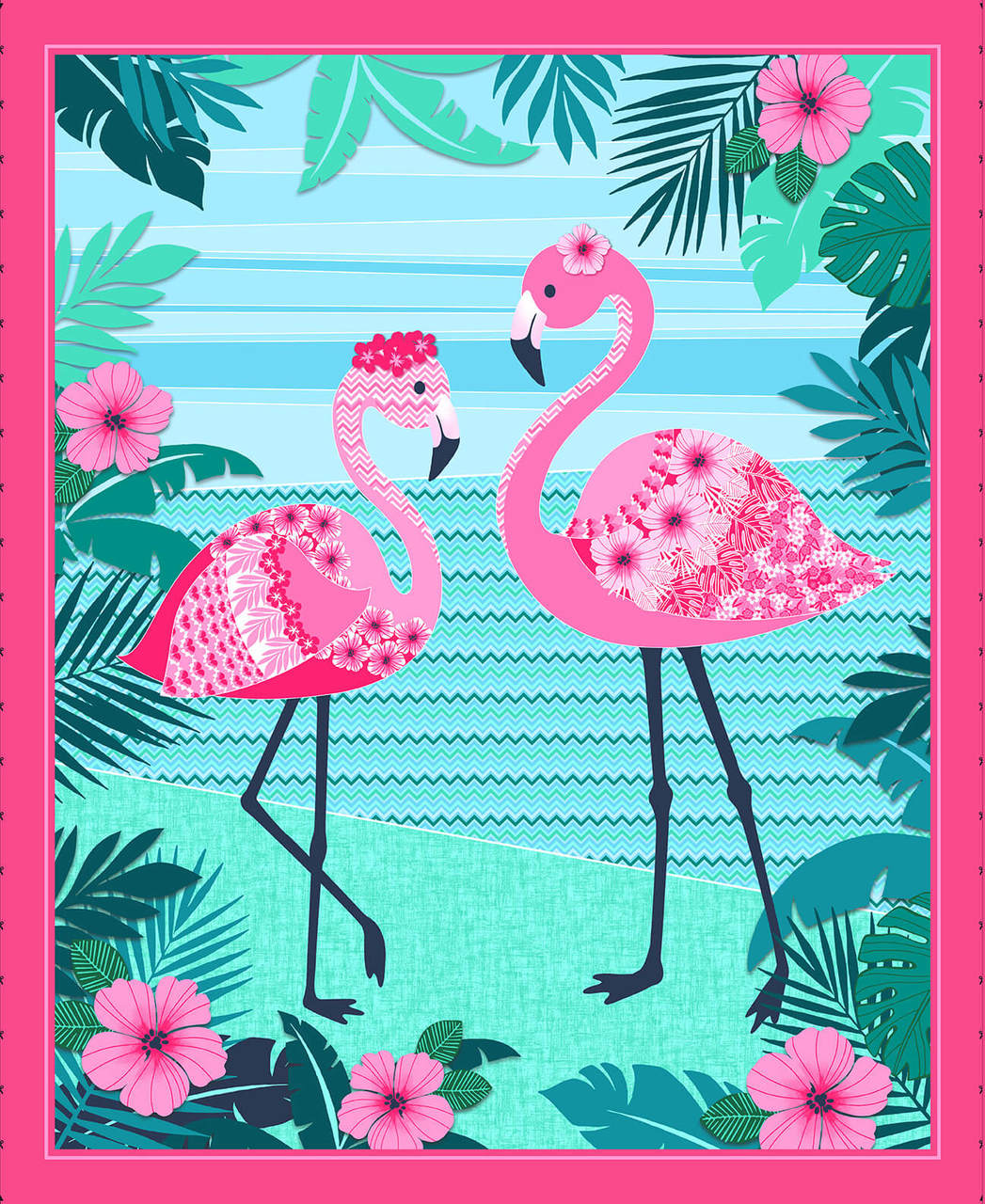 Flamingo Beach 36 inch Panel 5028P-22 Pink