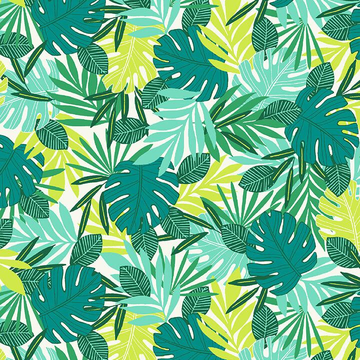 Flamingo Beach Tropical Leaves 5031-66 Green