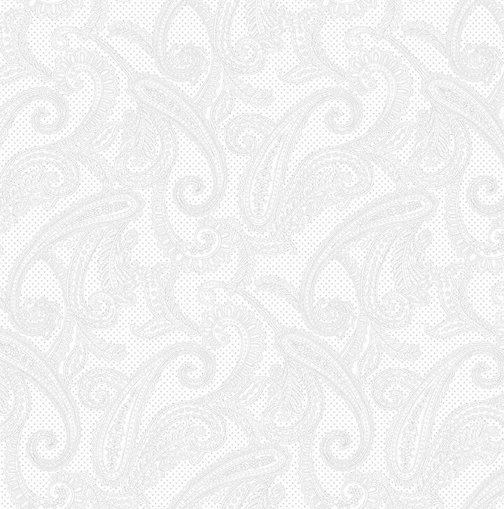 5103-01W White tonal - Paisley