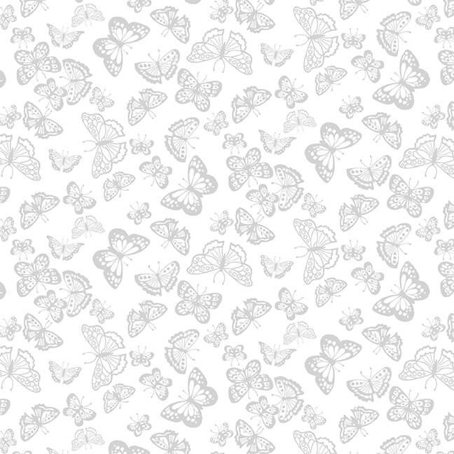 Cream & Sugar IX  White/White Butterflies