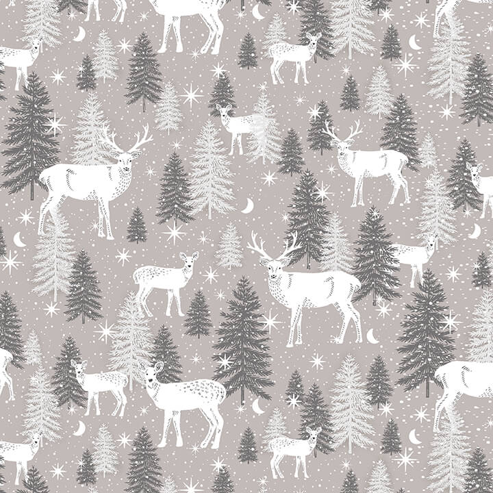 Studio E Midwinter Song Deer - Taupe Grey (0.9m remnant)