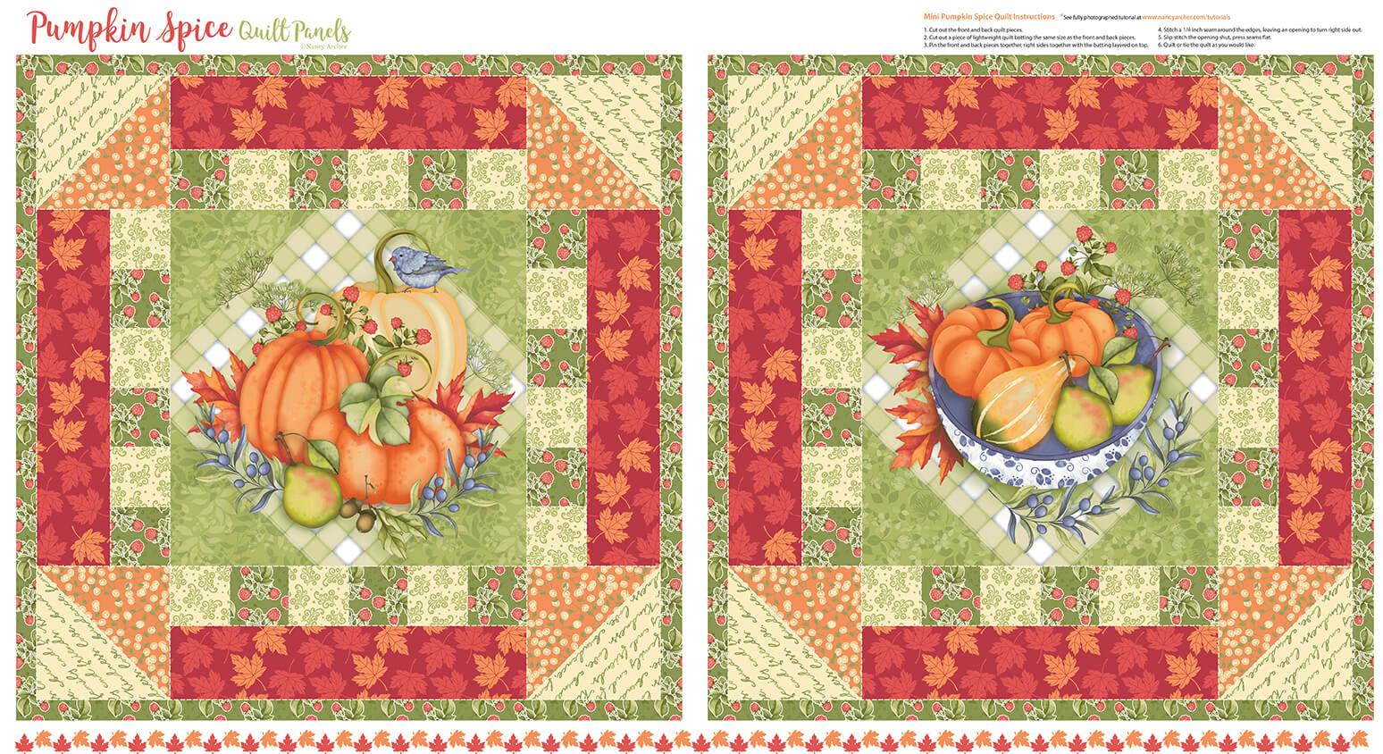 Pumpkin Spice - Mini Quilt Panel - 5148P-36 Multi