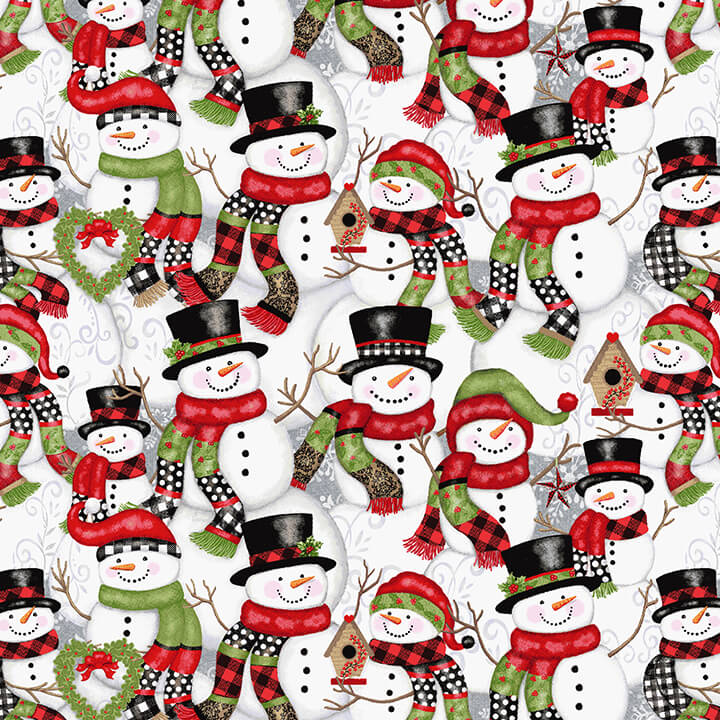 5162-98 Snow Place Like Home - Stacked Snowmen Multi by  Sharla Fults for Studio E