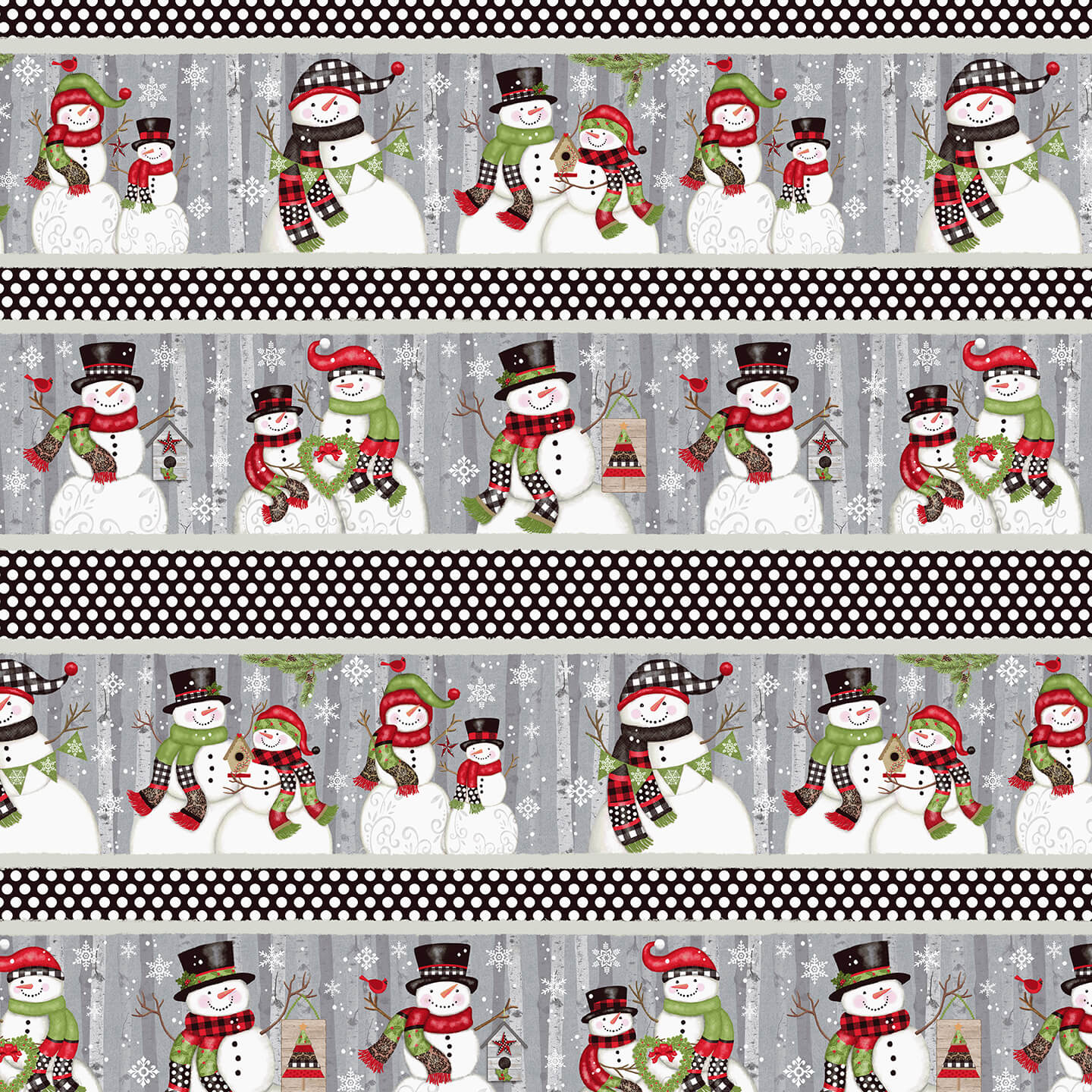 5163-98 Snow Place Like Home - Border Stripe Multi by  Sharla Fults for Studio E