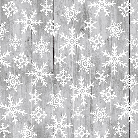 Snow Place Like Home Tossed Snowflakes on Wood 5166-90 Gray