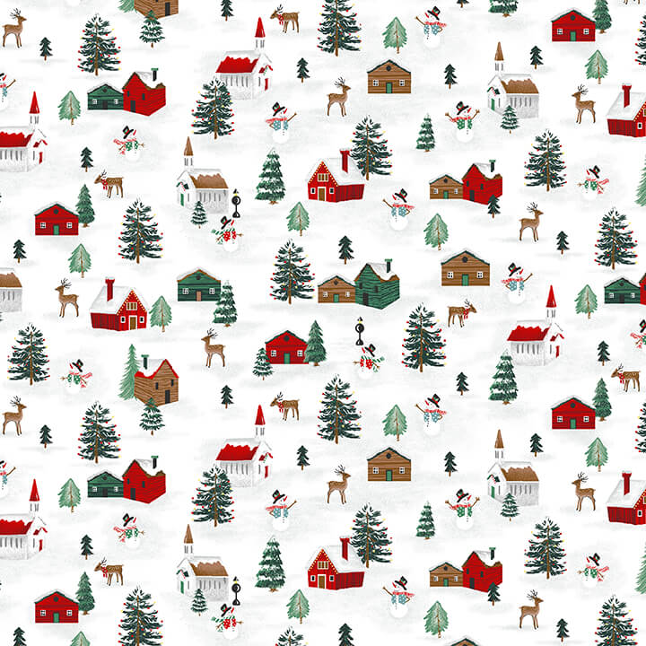 Peace and Goodwill - Chalet, 5207-68 Green/ Red - by Anna Cheng for Studio E Fabrics