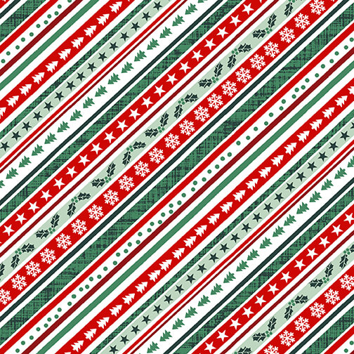 Peace and Goodwill - Diagonal Stripe, 5208-68 - by Anna Cheng for Studio E Fabrics