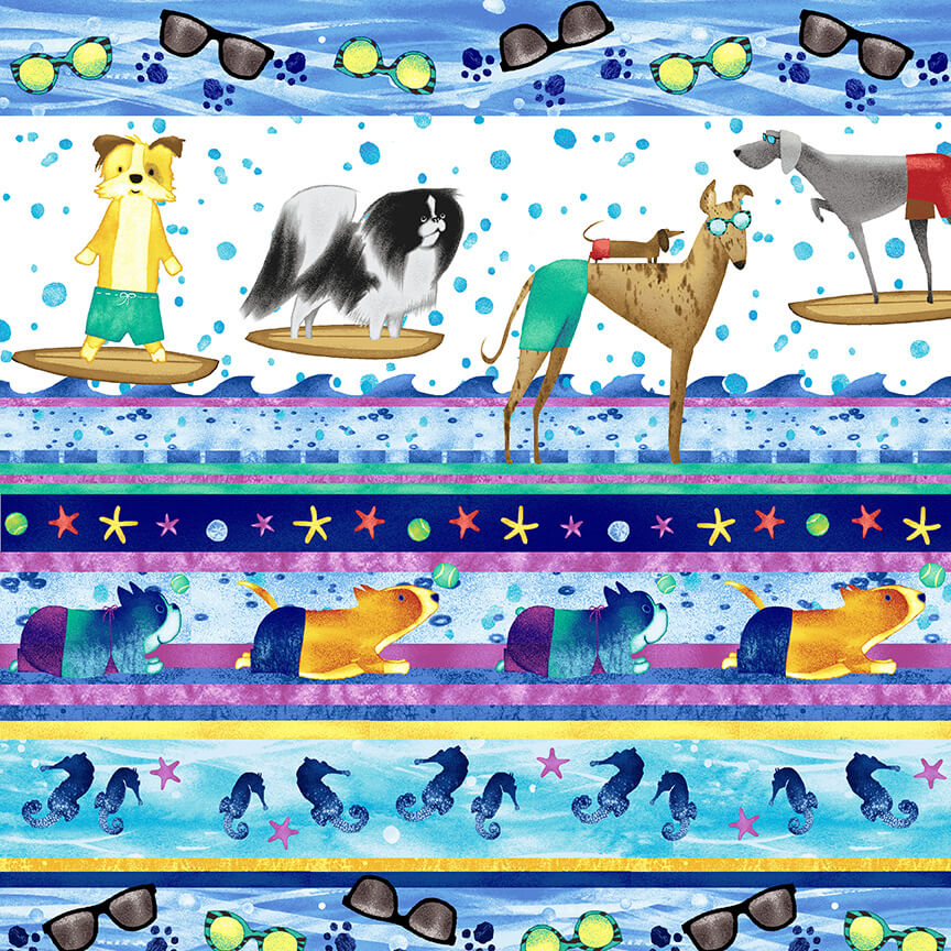 Surfing Dogs Stripe:  Surfin' Hounds by Tracy Ann for Studio E