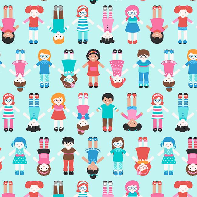 World Children Light Blue Sew Kind by Charlotte Gould for Studio E Fabrics