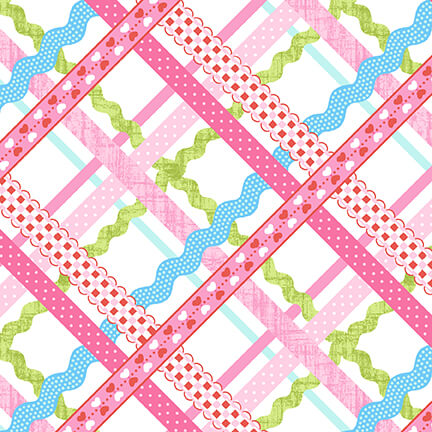 Rick-Rack Plain in Pink Sew Kind by Charlotte Gould for Studio E Fabrics