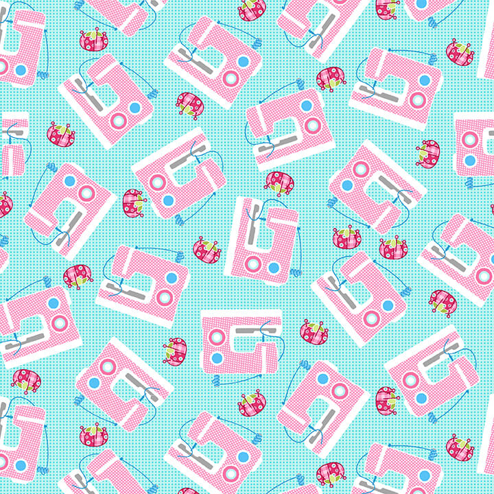 Sewing Machines on Light Blue Sew Kind by Charlotte Gould for Studio E Fabrics