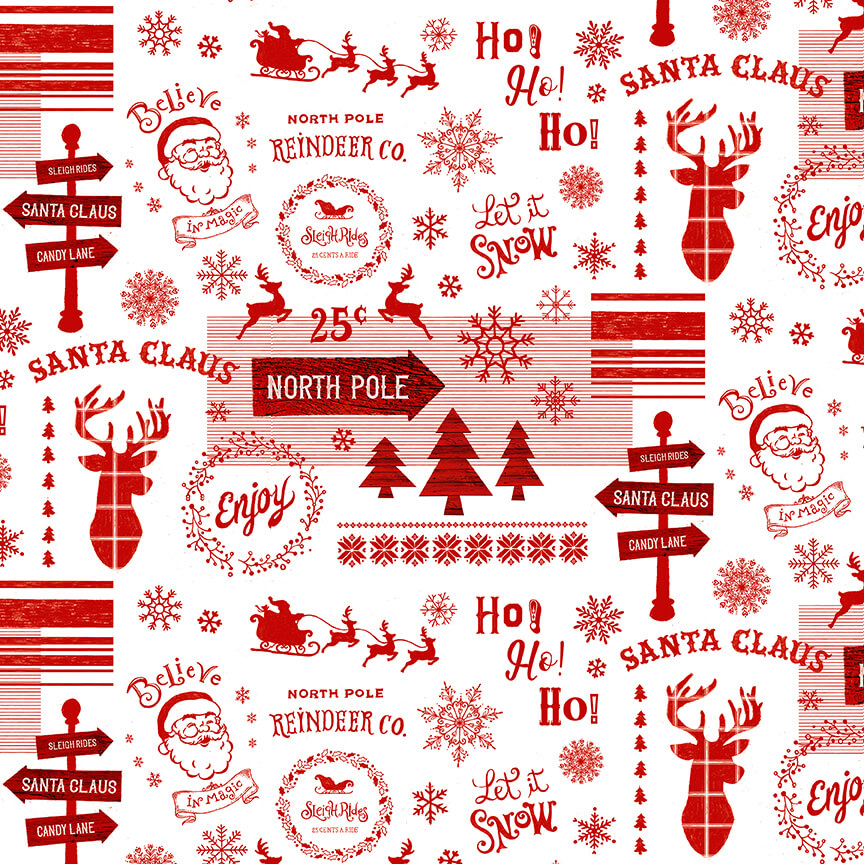 Christmas Memories 5257-8 Red/ White