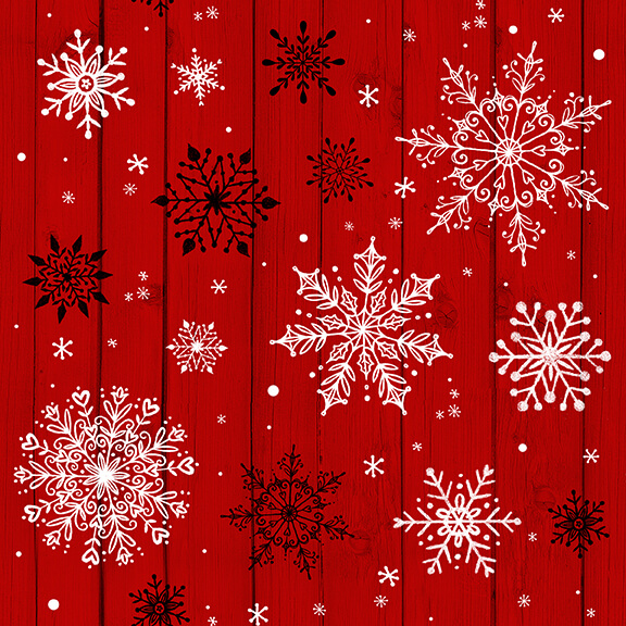 Studio e Christmas Memories Red Snowflakes on Woodgrain