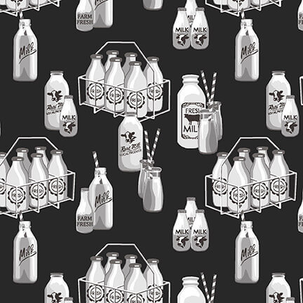 Studio e Buttermilk Farmstead Milk Bottles Black