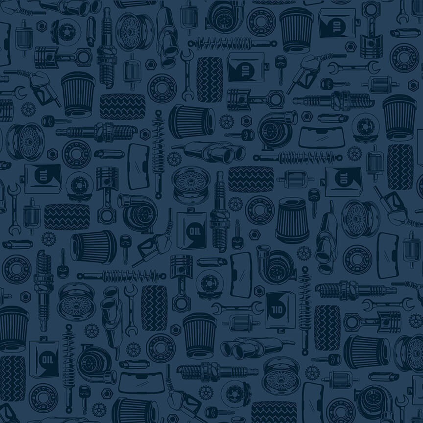 Car parts on Navy by Amerian Muscle for Studio E Fabrics