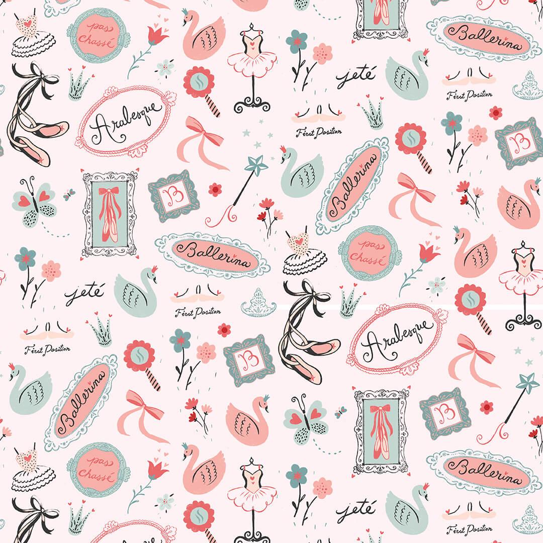 Bella Ballerina - Words and Motifs Allover, 5367-22 - by Lucie Crovatto for Studio E Fabrics