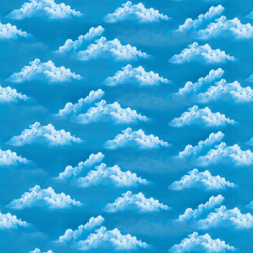 SPECIALTY FABRICS:  Clouds in Blue Skies:  Happy Clouds - The Joy of Painting by Bob Ross for Studio E