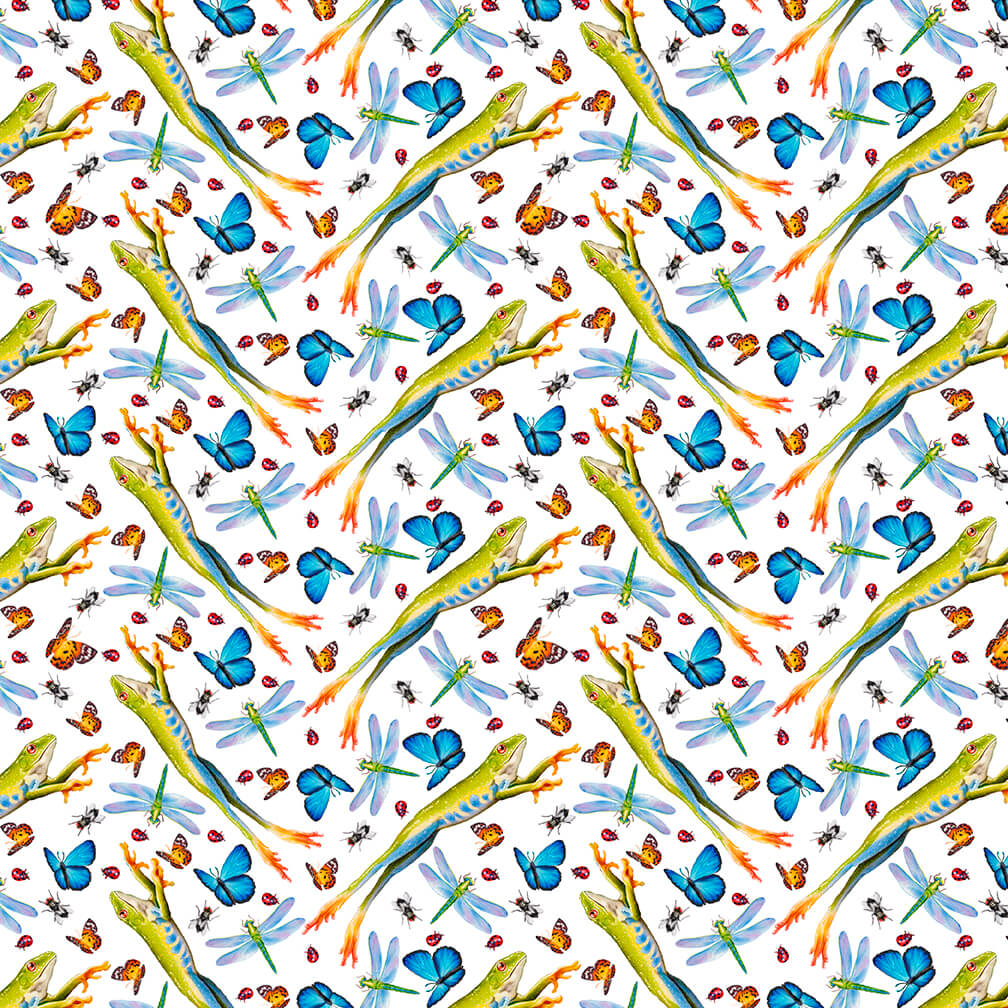 SPECIALTY FABRICS:  Leaping Frogs and Insects on White:  Jewels of the Jungle by Lori Anzalone for Studio E Fabrics