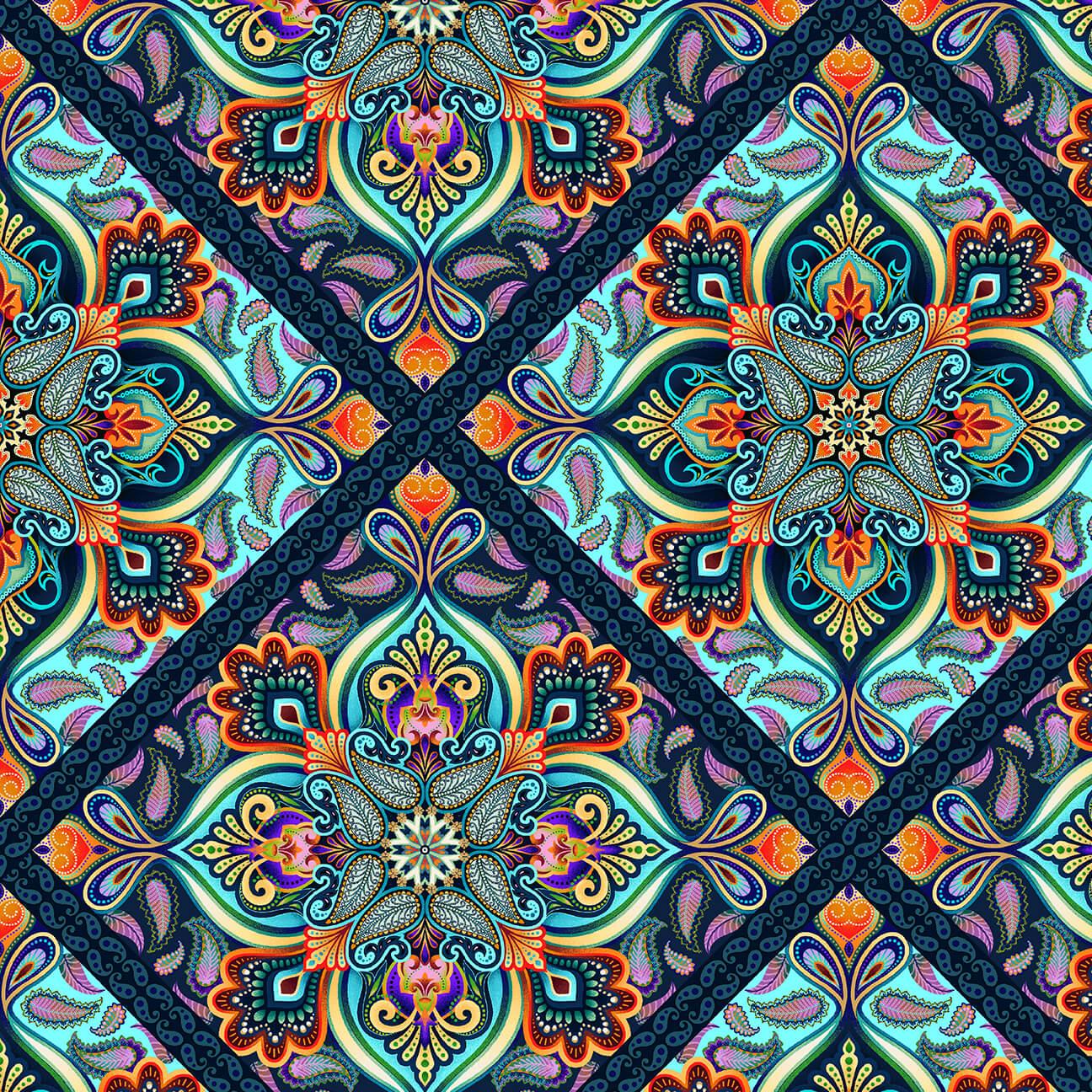 Blooming Paisley - Diamond Medallion - Sky Multi
