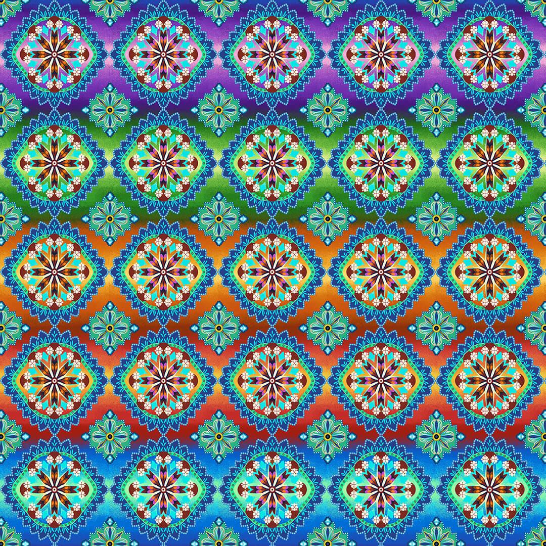 Blooming Paisley - Hexie Medallion - Rainbow Multi