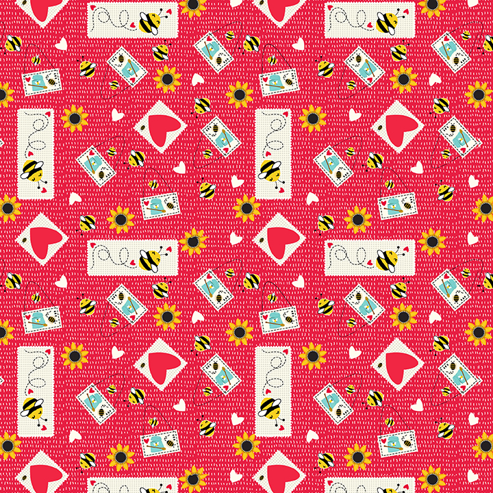 SPECIALTY FABRICS:  Bee Stickers Tossed on Red:  Honey Bee Gnomes by Lori Nawyn for Studio E Fabrics