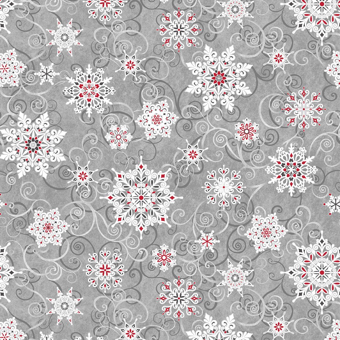 Snowflakes on Grey Swirls Wide Back - Frozen Melodies by Chelsea DesignWorks