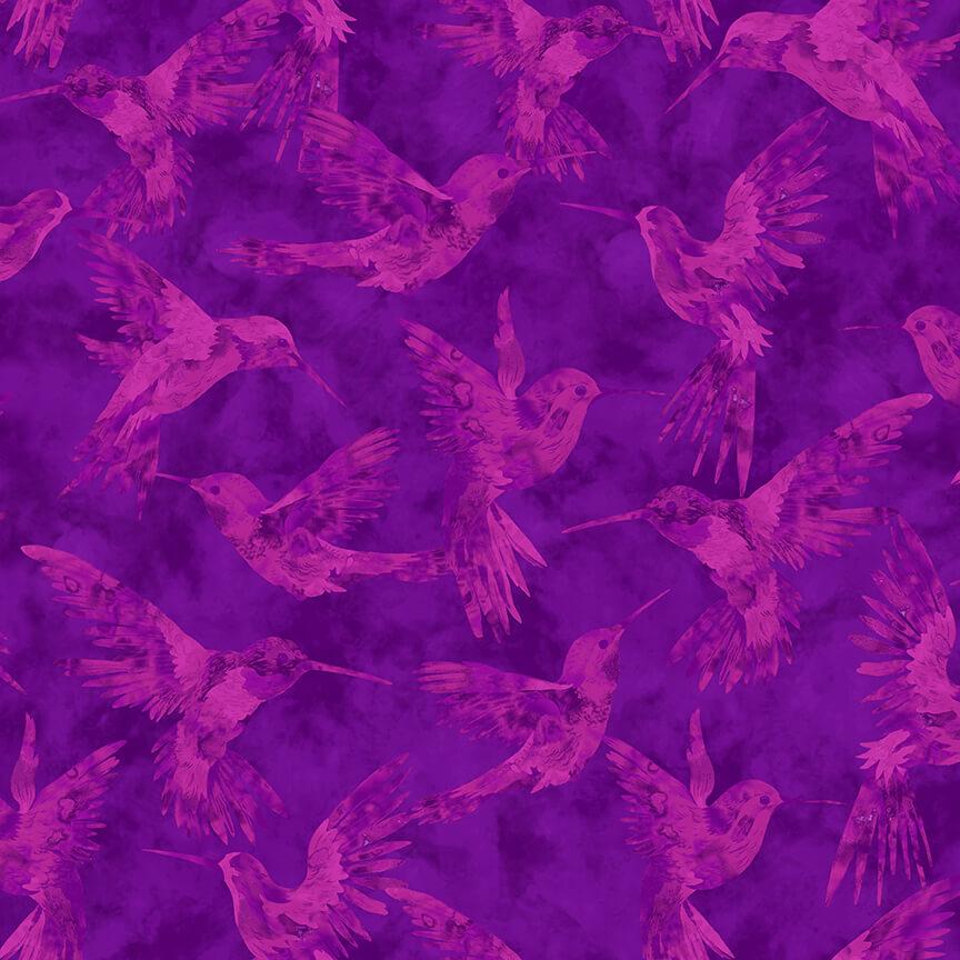 Purple Hummingbird all over  - Humingbird Heaven by Studio E Fabrics