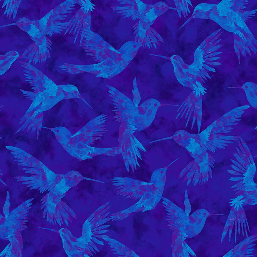 Royal Hummingbirds all over  - Humingbird Heaven by Studio E Fabrics