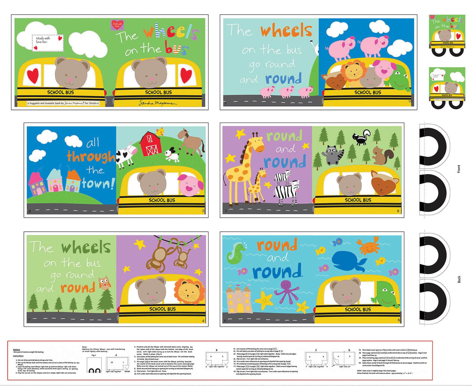 Huggable and Loveable X - Wheels on the Bus Book Panel