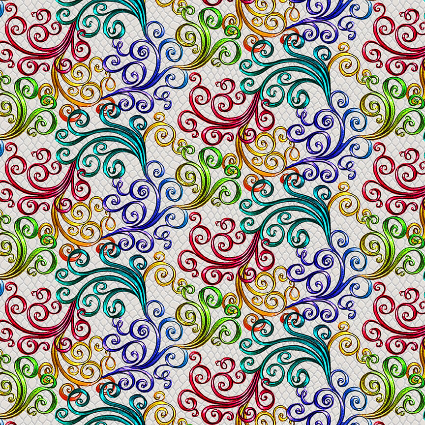 SPECIALTY FABRICS:  Rainbow Swirls on Ecru:  Rainbow Dragon by Sue Ellen Brown for Studio E Fabrics
