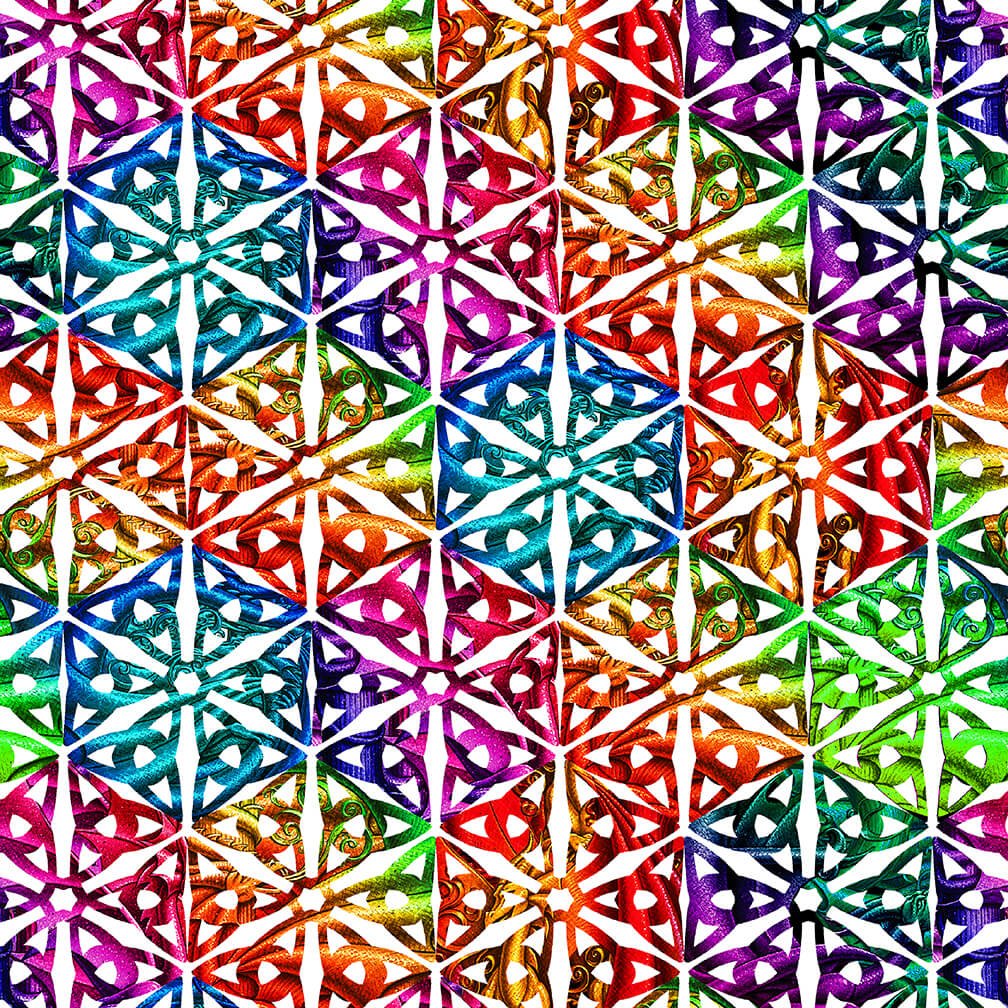 SPECIALTY FABRICS:  Spectrum Medallion on White:  Rainbow Dragon by Sue Ellen Brown for Studio E Fabrics
