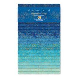 Northcott Artisan Spirit Shimmer Strips Blue Lagoon