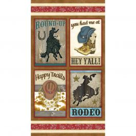 Henry Glass Rodeo Roundup Brown Multi 24 Panel