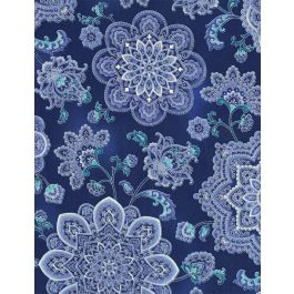 Blue Main Floral w/ Metallic