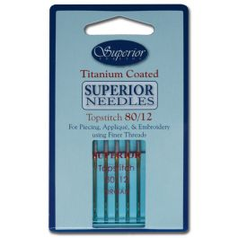 #80/12 Topstitch Superior Titanium-Coated Needle (Blue Package)
