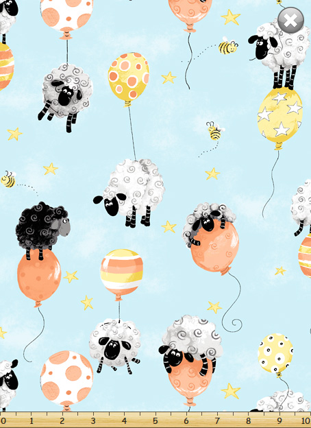 SPECIALTY FABRICS:  Sheep Floating with Orange and Peach Balloons on Aqua:  Lewe's Balloons II by World of Susybee for Hamil Textiles.  Coordinates with QP--770