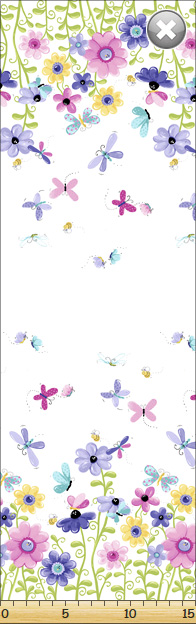 SPECIALTY FABRICS:  Double Border Butterflies and Flowers on White:  Flutter, the Butterfly by World of Susybee for Hamil Textiles