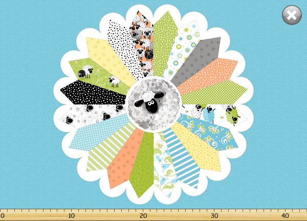 Lewe's Balloons Quilt Panel - Turquoise Dresden Plate by World of Susybee for Hamil Textiles