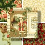 christmas memories offers sprigs of holly paisleys and bright poinsettias with a beautiful montage featuring father christmas traditional cardinals and