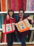 Ruth and I showing the camera our new Sew Crazy bags