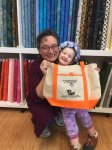 Me and my precious granddaughter showing off one of our Sew Crazy bags