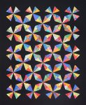 Diamonds in the Sky quilt - black background, bright fabrics.