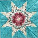 A fussy cut Lemoyne Star quilt block