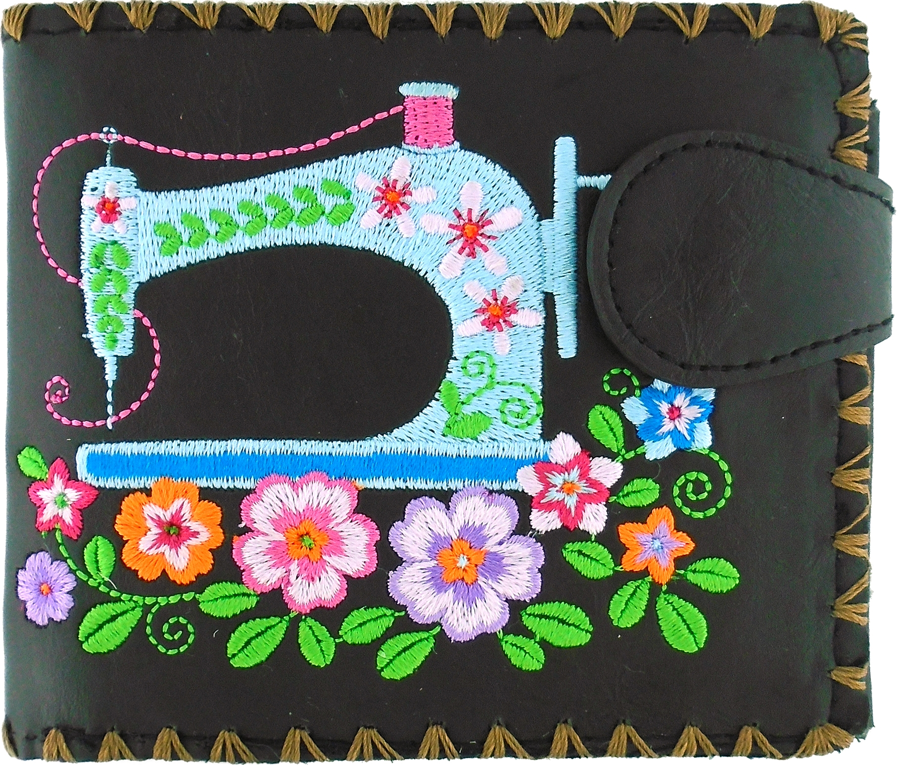 Sewing Machine Medium Embroidered Wallet - Black