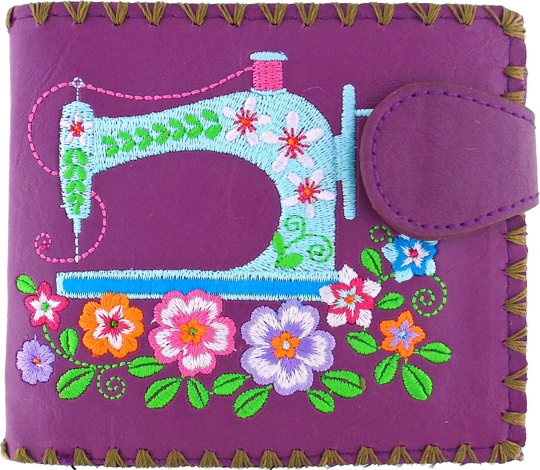 Sewing Machine Medium Embroidered Wallet - Purple